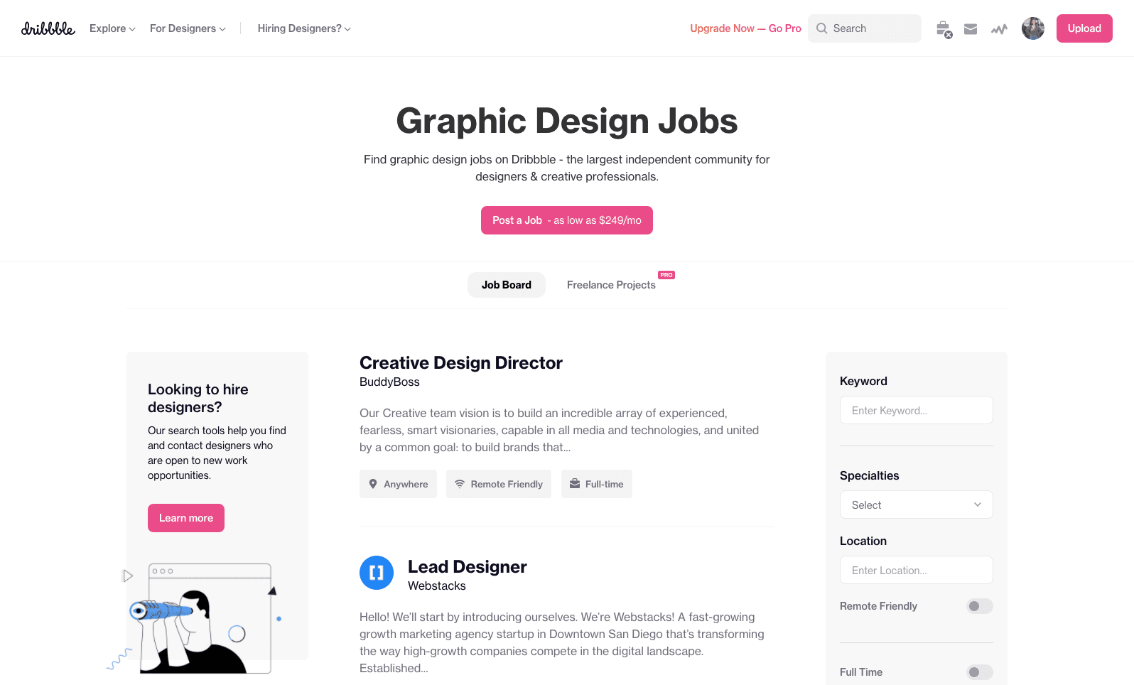 A screenshot of dribbble.com
