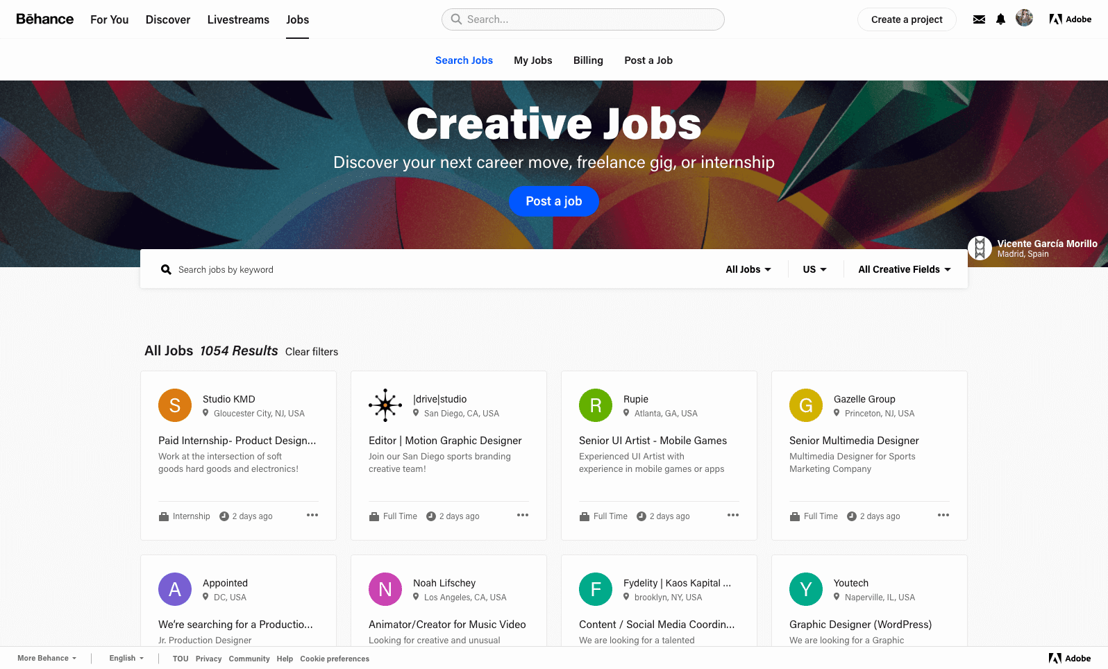 A screenshot of behance.com