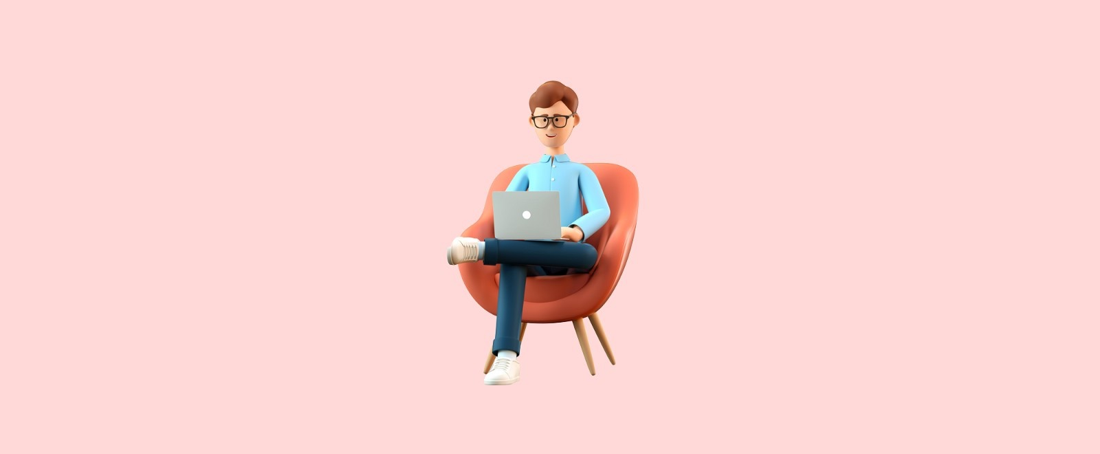 3D model of a man sitting in a chair working on their laptop