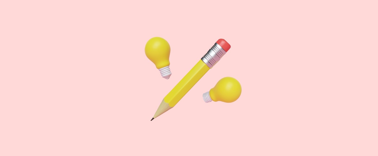 Pencil and light bulbs on pink background