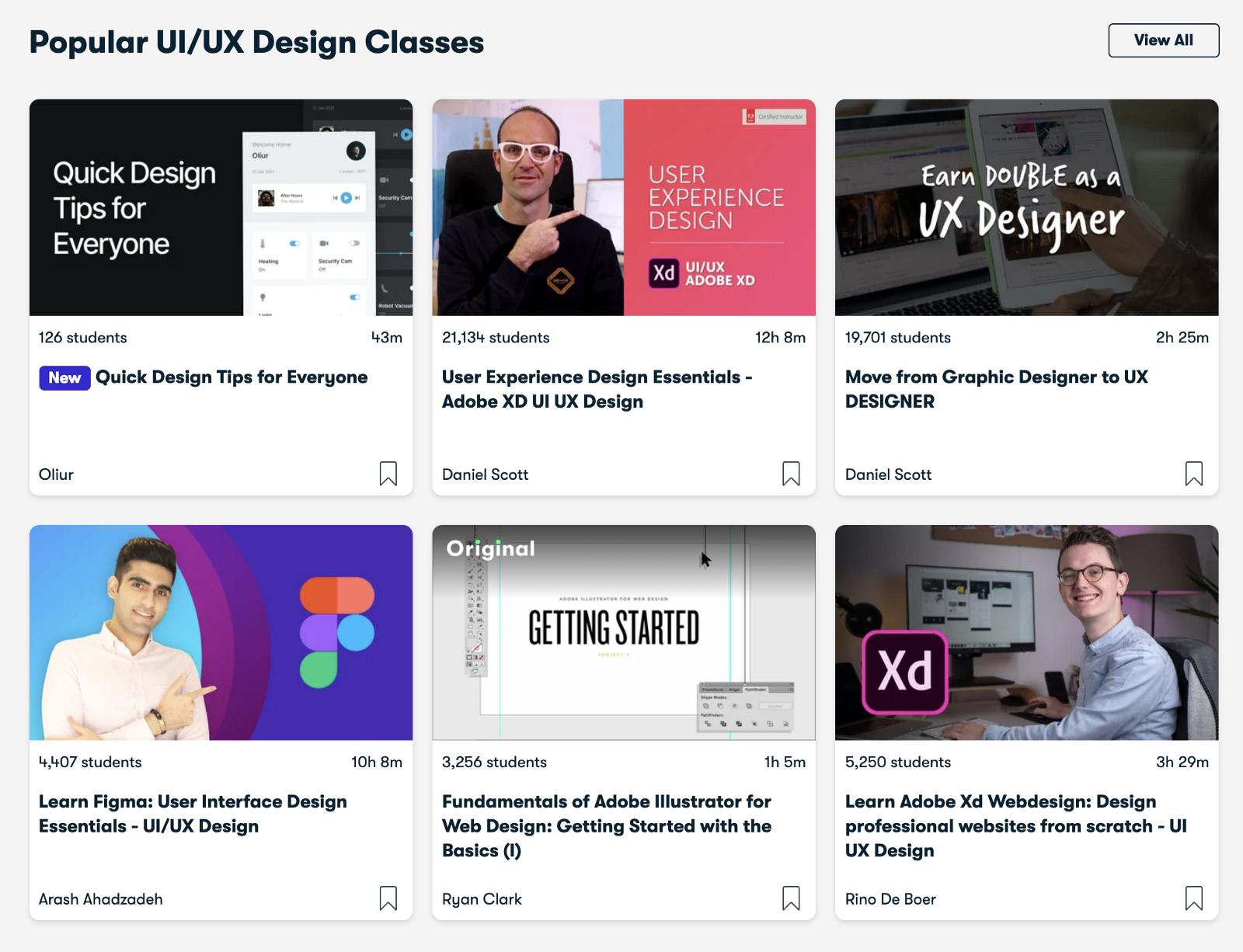 Popular UI/UX design classes on Skillshare