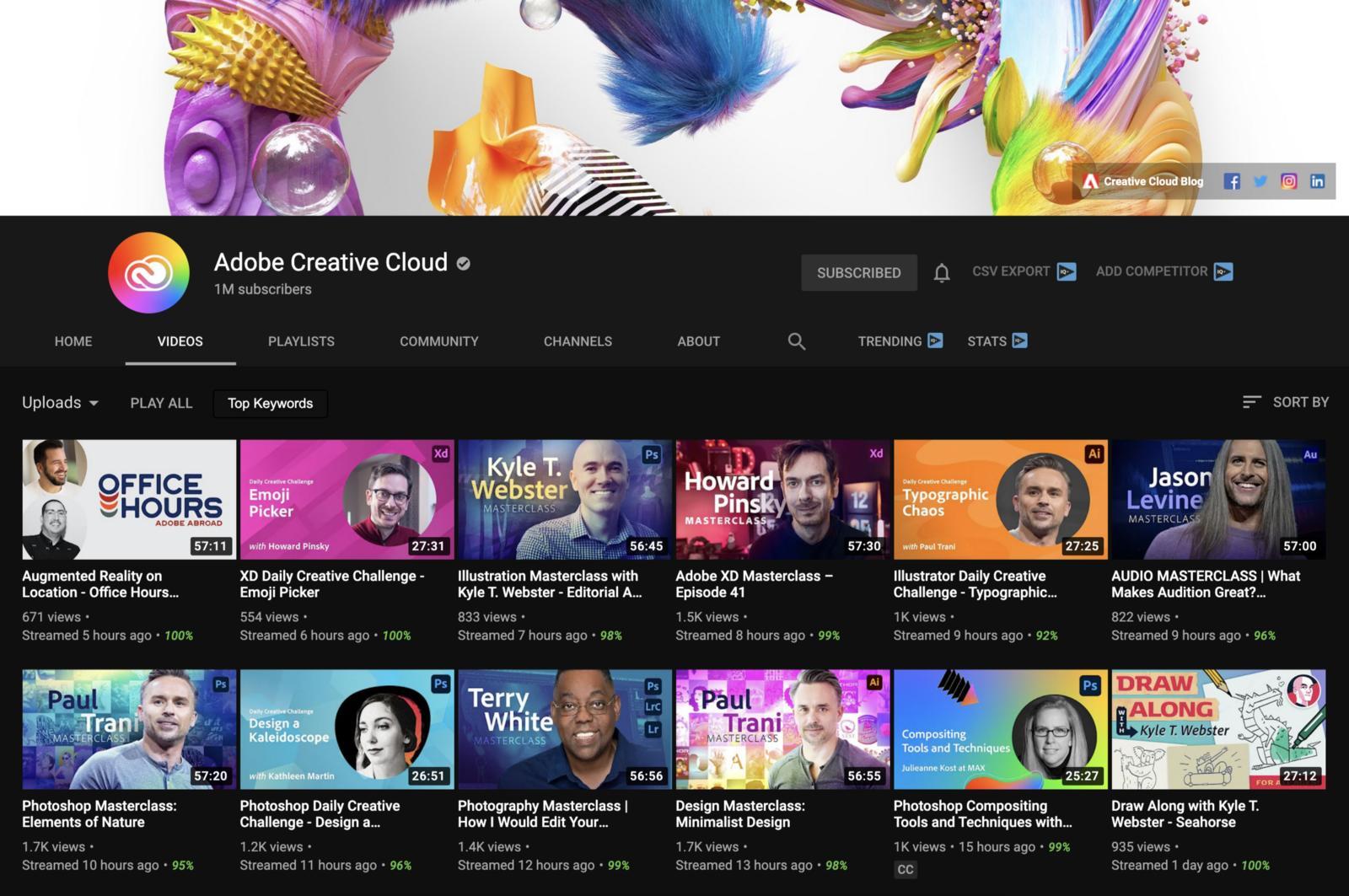 Adobe Creative Cloud YouTube channel