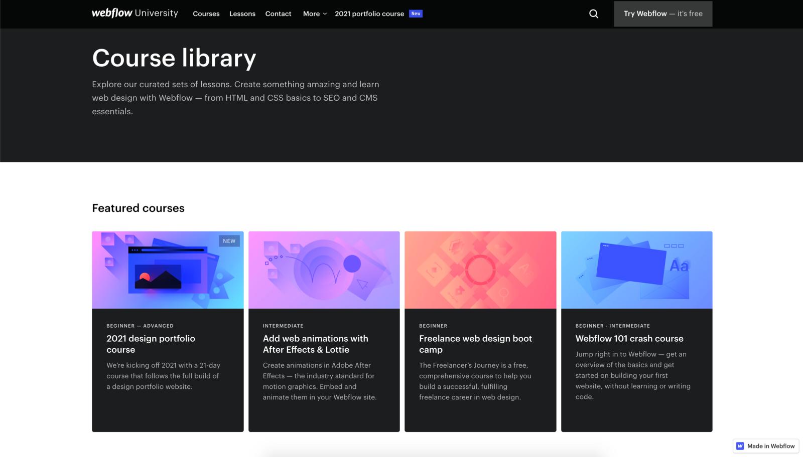 Webflow University course library