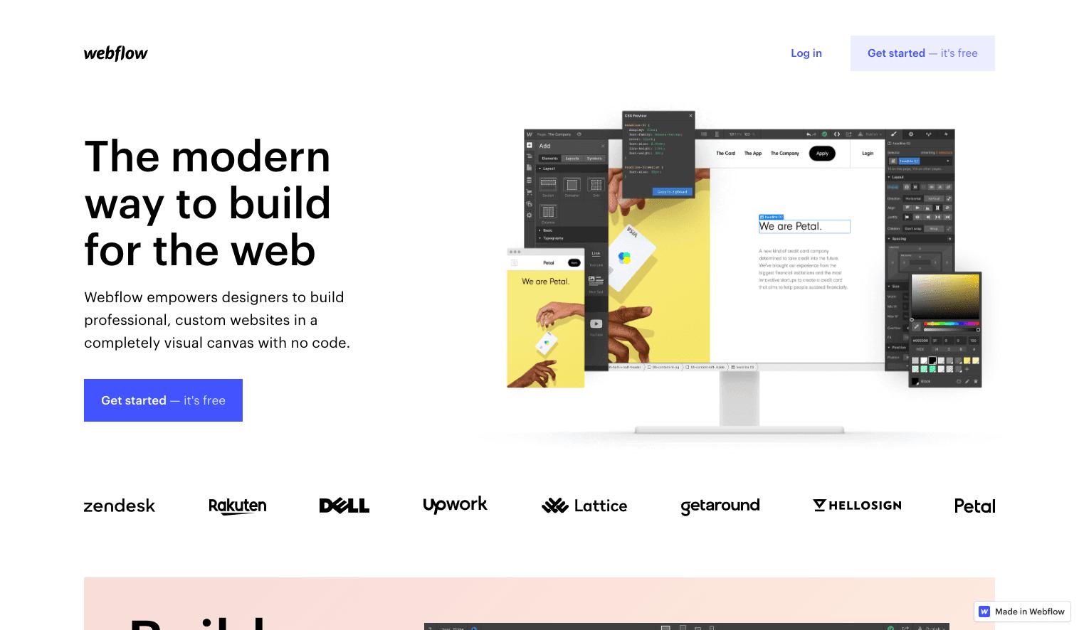 Screenshot of Webflow homepage