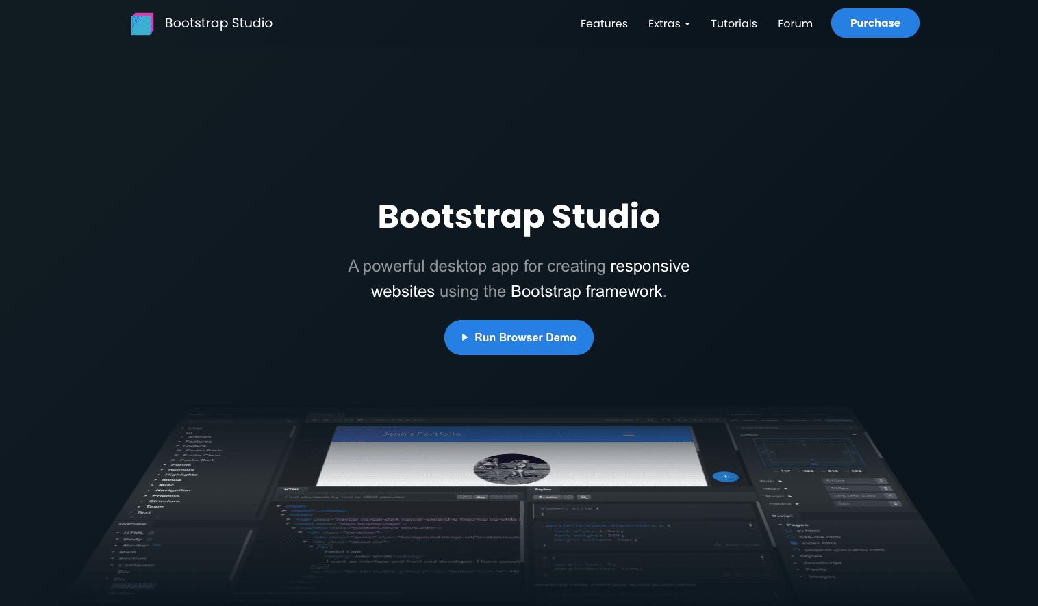 Screenshot of Bootstrap Stdio homepage