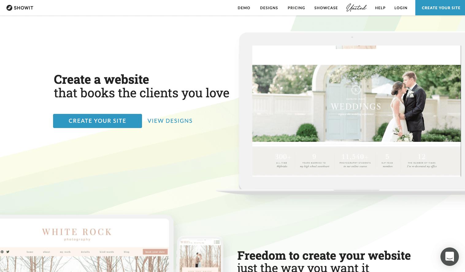 Screenshot of Showit homepage