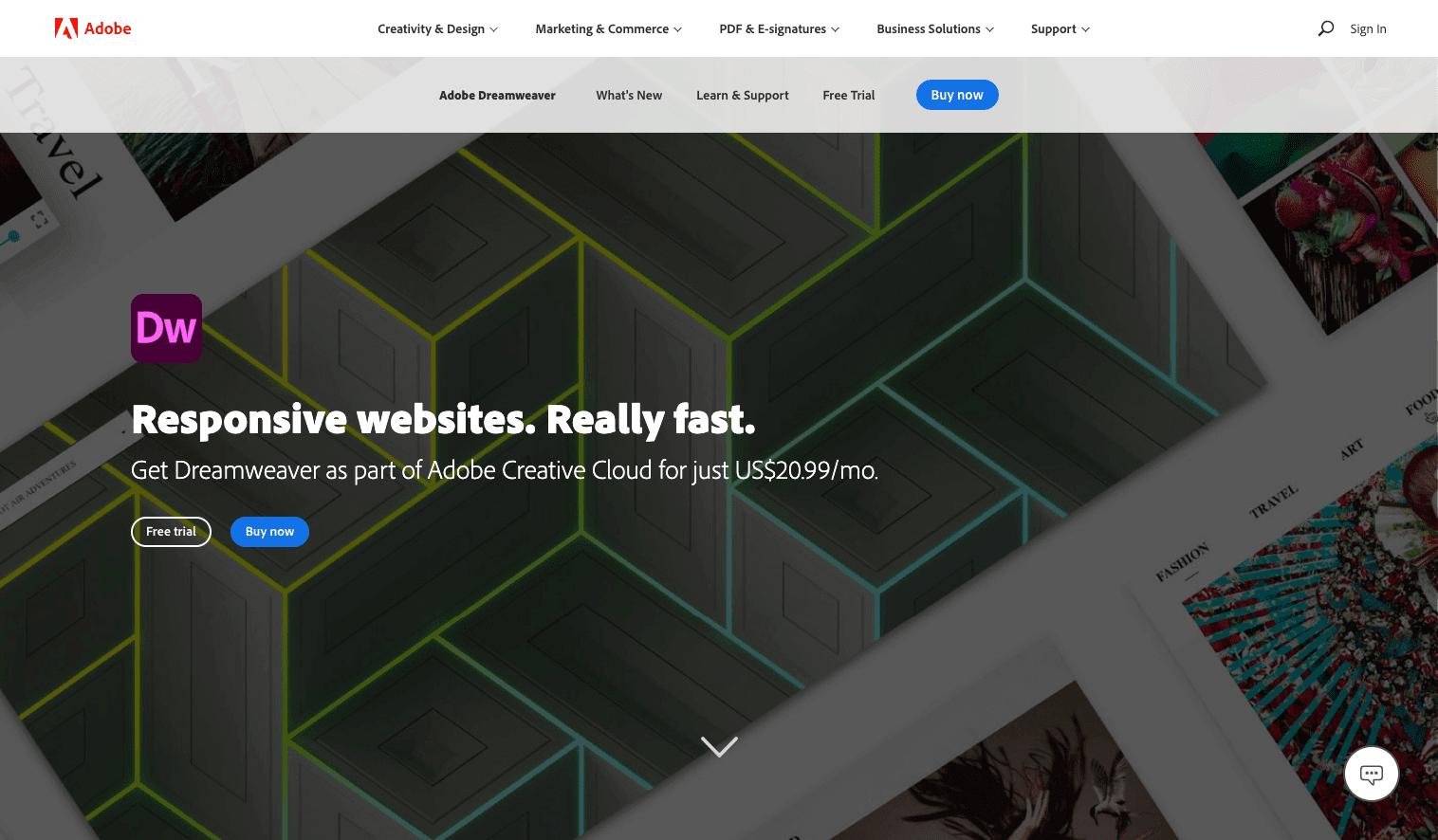 Screenshot of Adobe Dreamweaver homepage