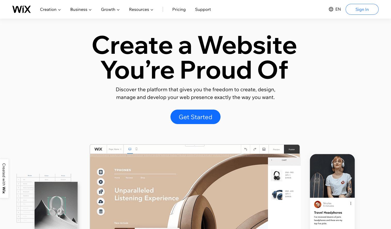 Screenshot of Wix homepage