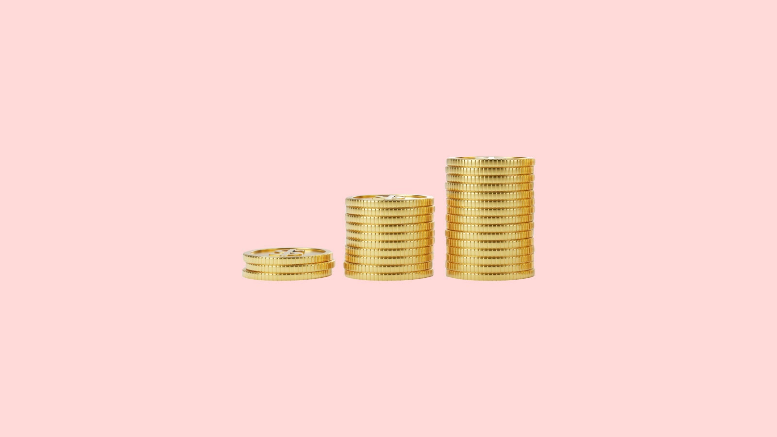 3 coin stacks on a pink background