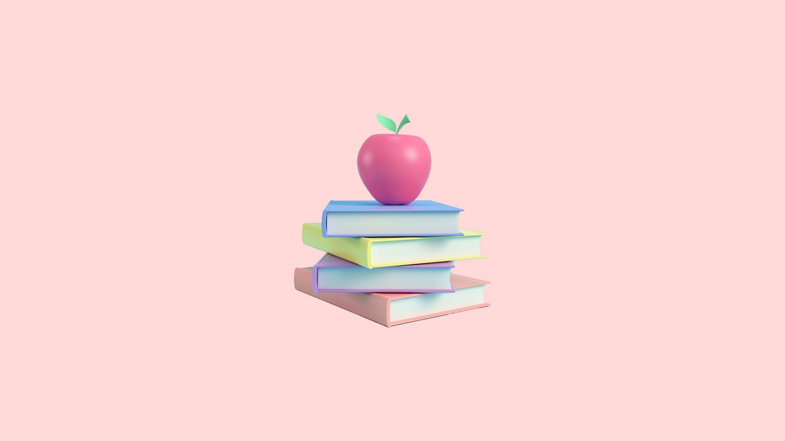 Stack of books and an apple on a pink background