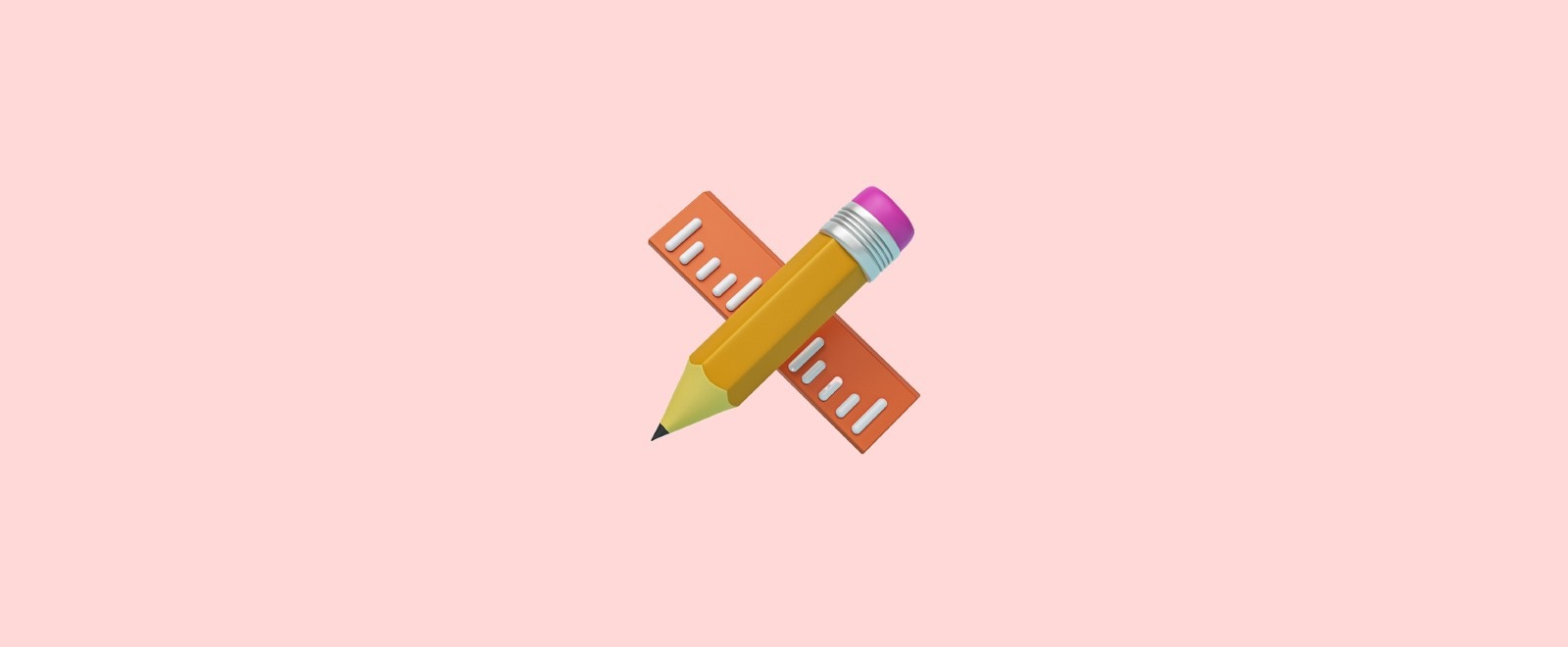 A 3D pencil and ruler on a pink background