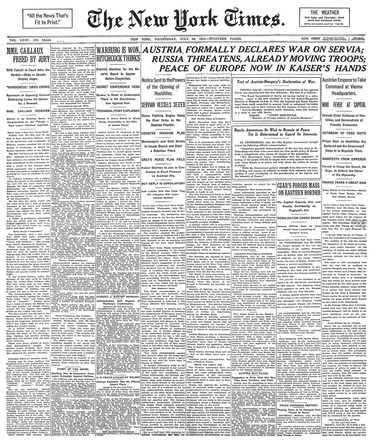 Newspaper from The New York Times, July 29, 1914