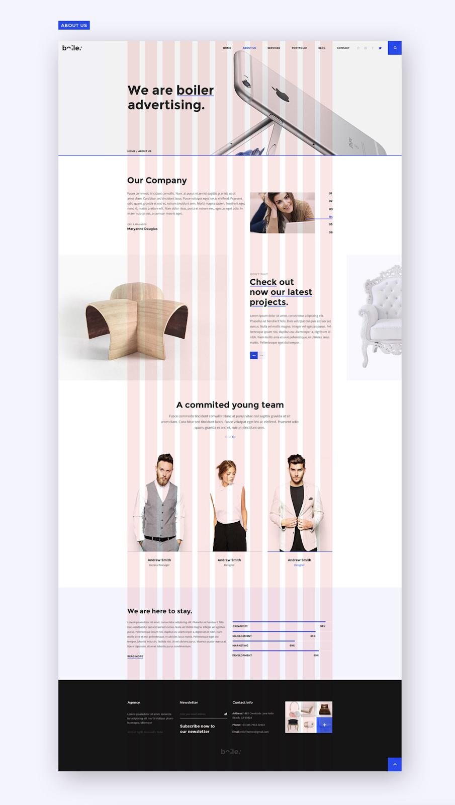 Landing page using a 12-column grid (source: Milo Studio)