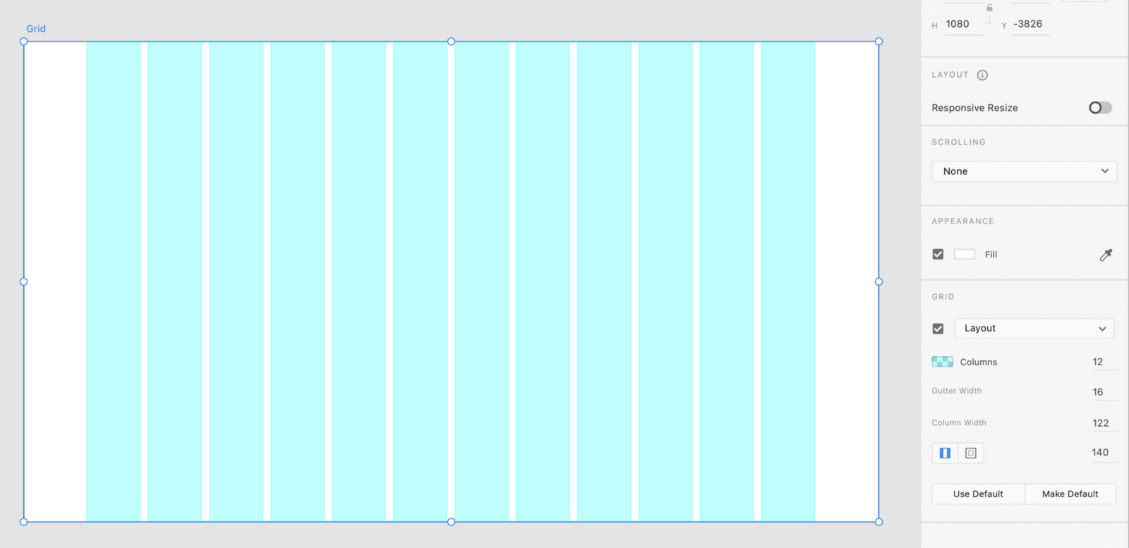 How to create a column grid in Adobe XD