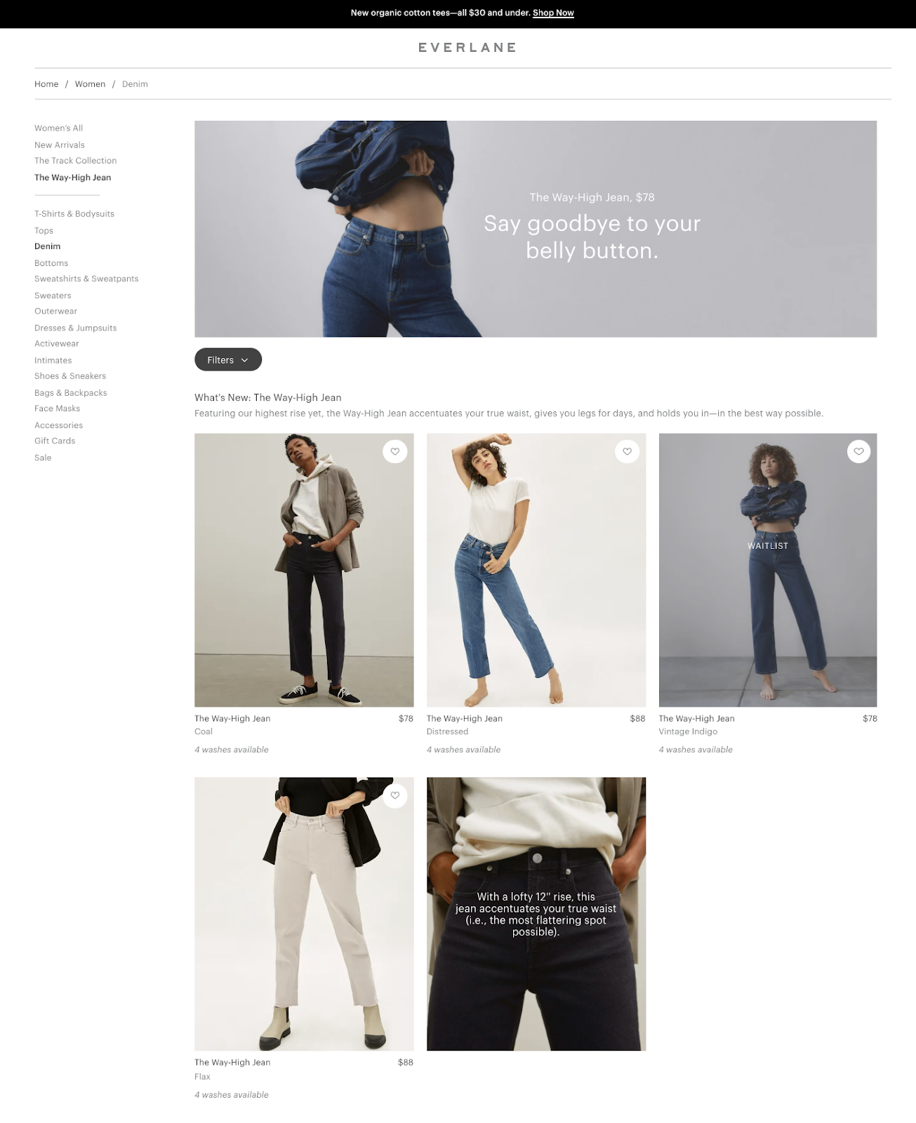 Example of a modular grid in web design (source: Everlane)