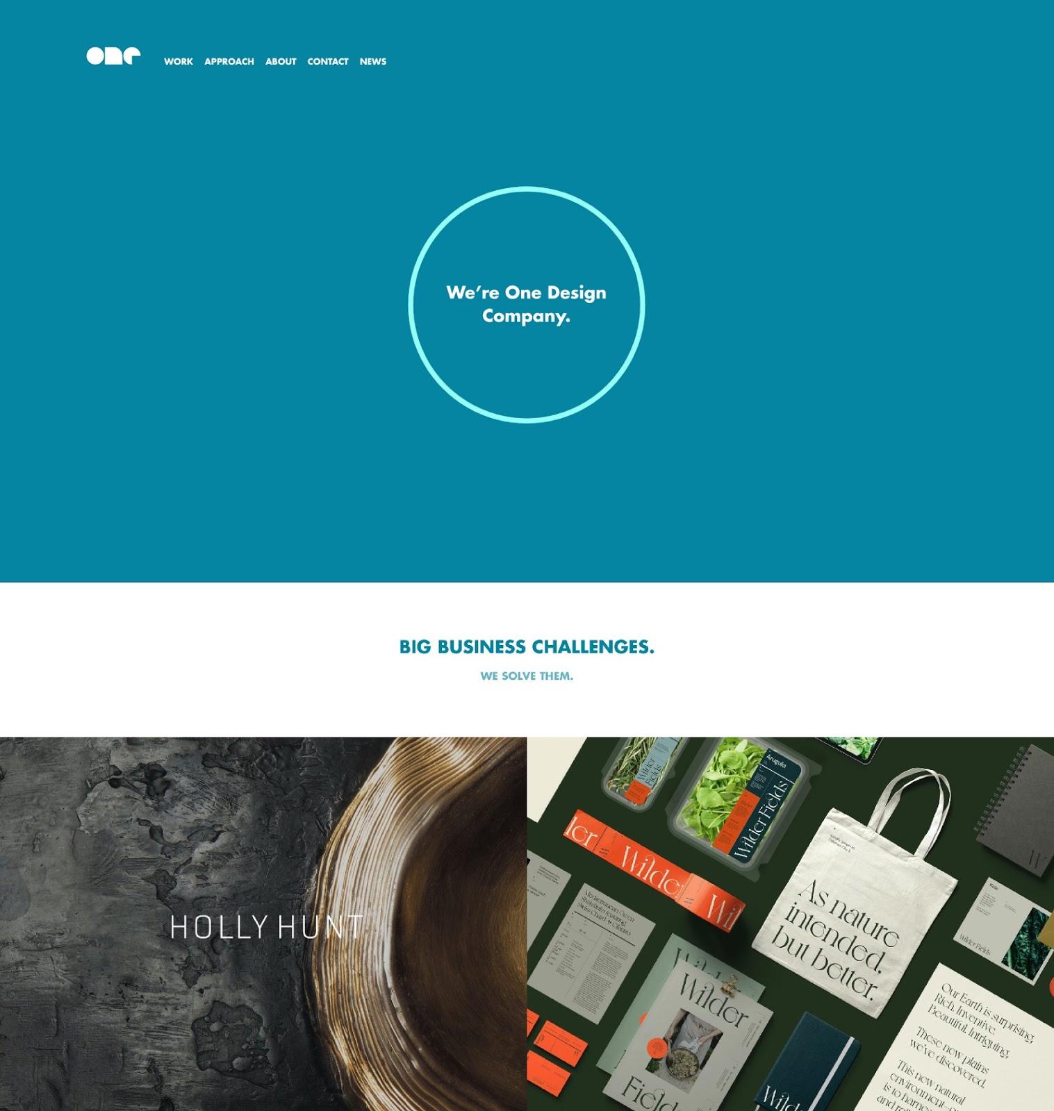 Web design company portfolio website example (source: One Design Company)
