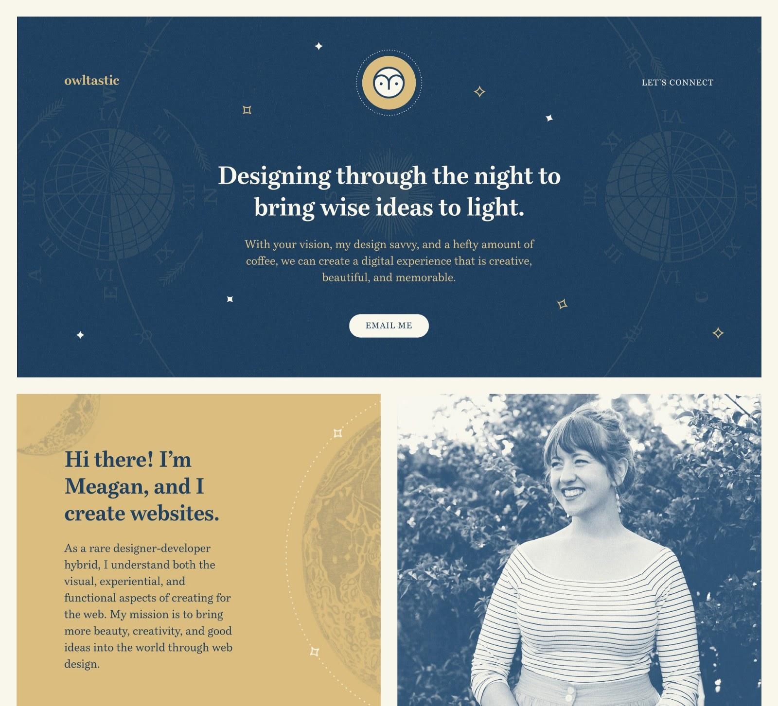 Web design portfolio example (source: Owltastic)