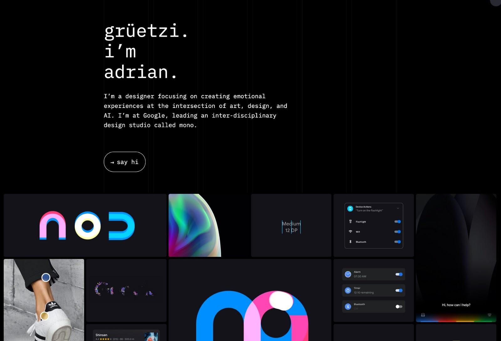 Web design portfolio example (source: Adrian Z)
