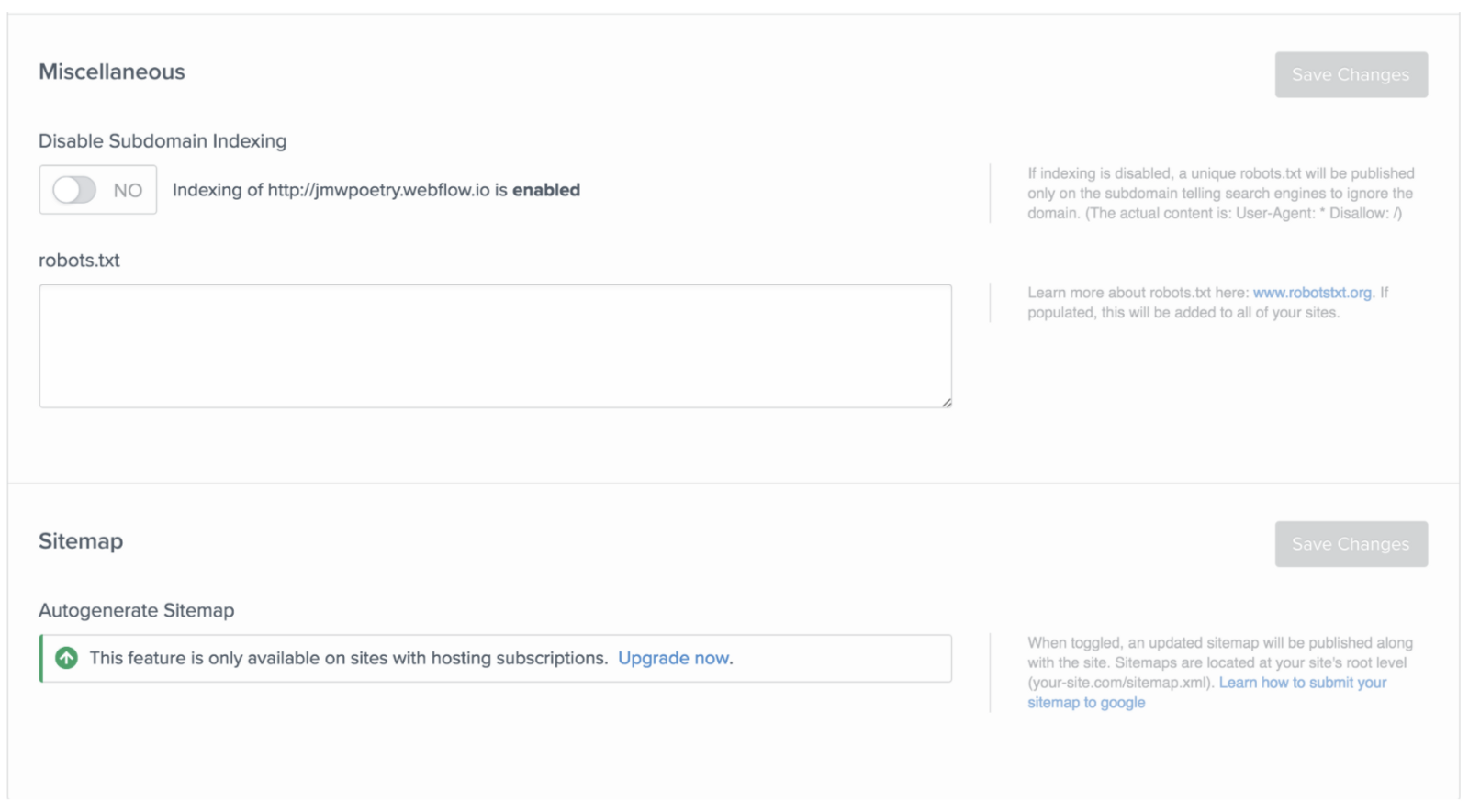 How to disable subdomain indexing in Webflow.