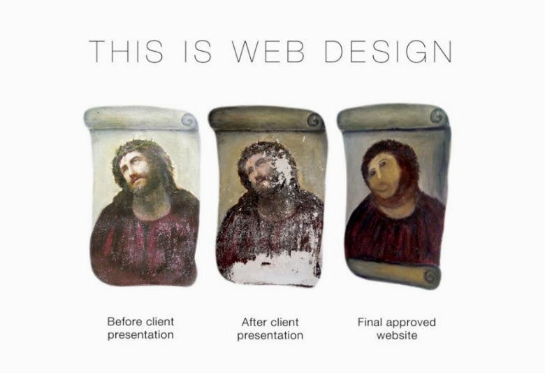 This is web design: Before client presentation, after client presentation, and final approved website.