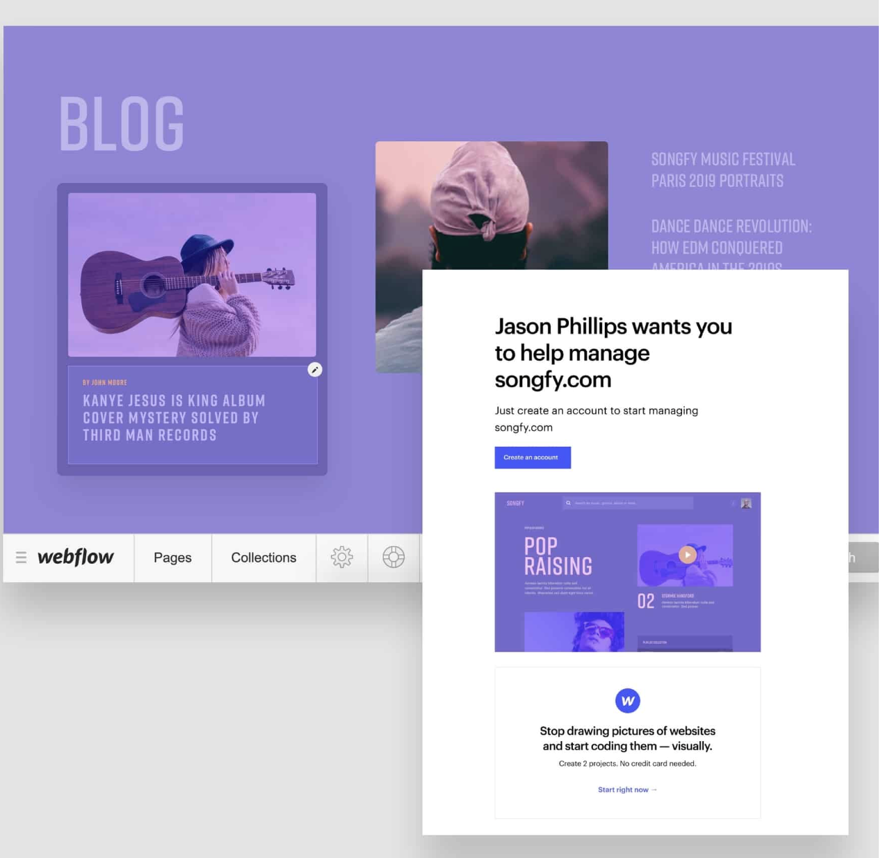 Invite clients or collaborators by giving them access (source: Webflow)