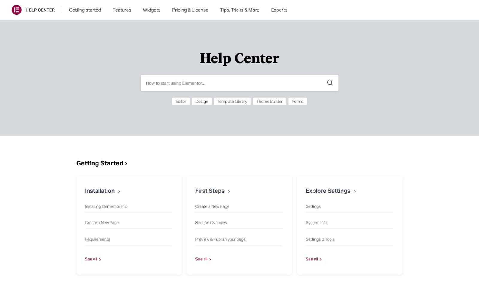 Elementor's comprehensive Help Center