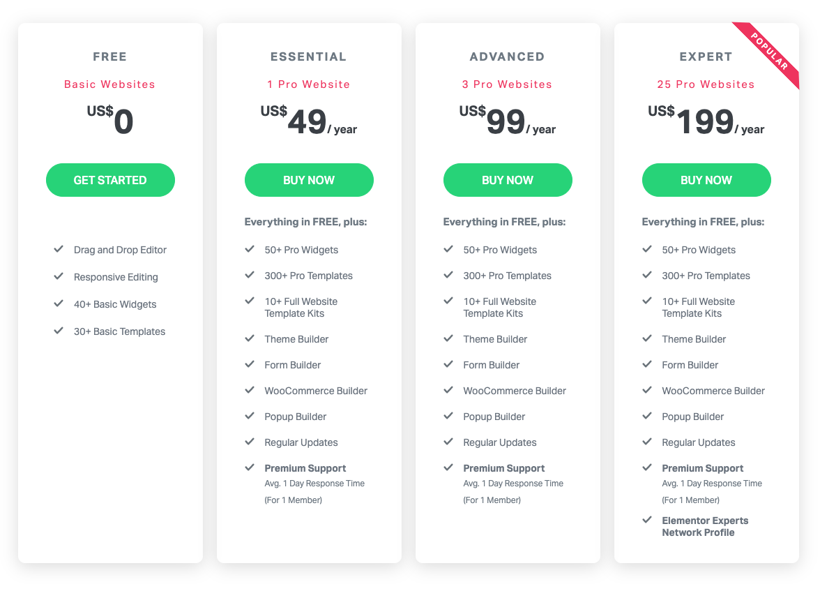 Elementor's individual plan options