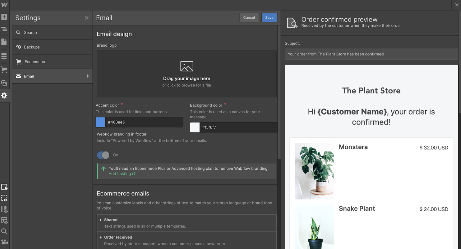 Customize and preview transactional emails with Webflow