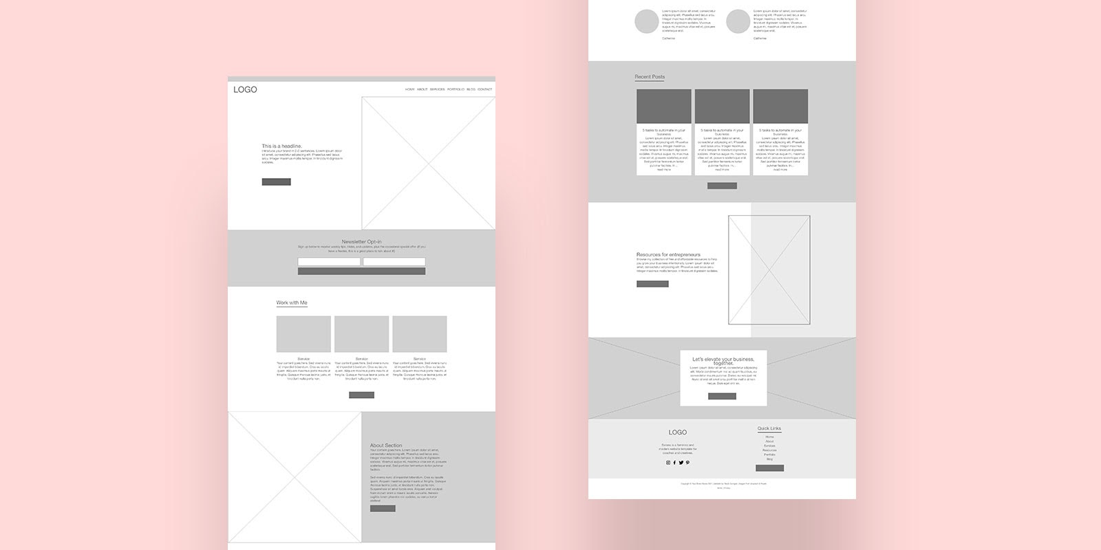 Example of a digital wireframe created with Adobe XD