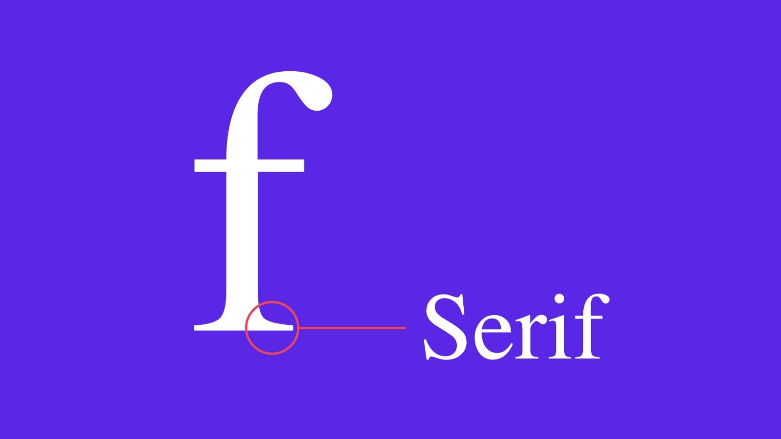 """Example of a serif on the letter """"f"""""""