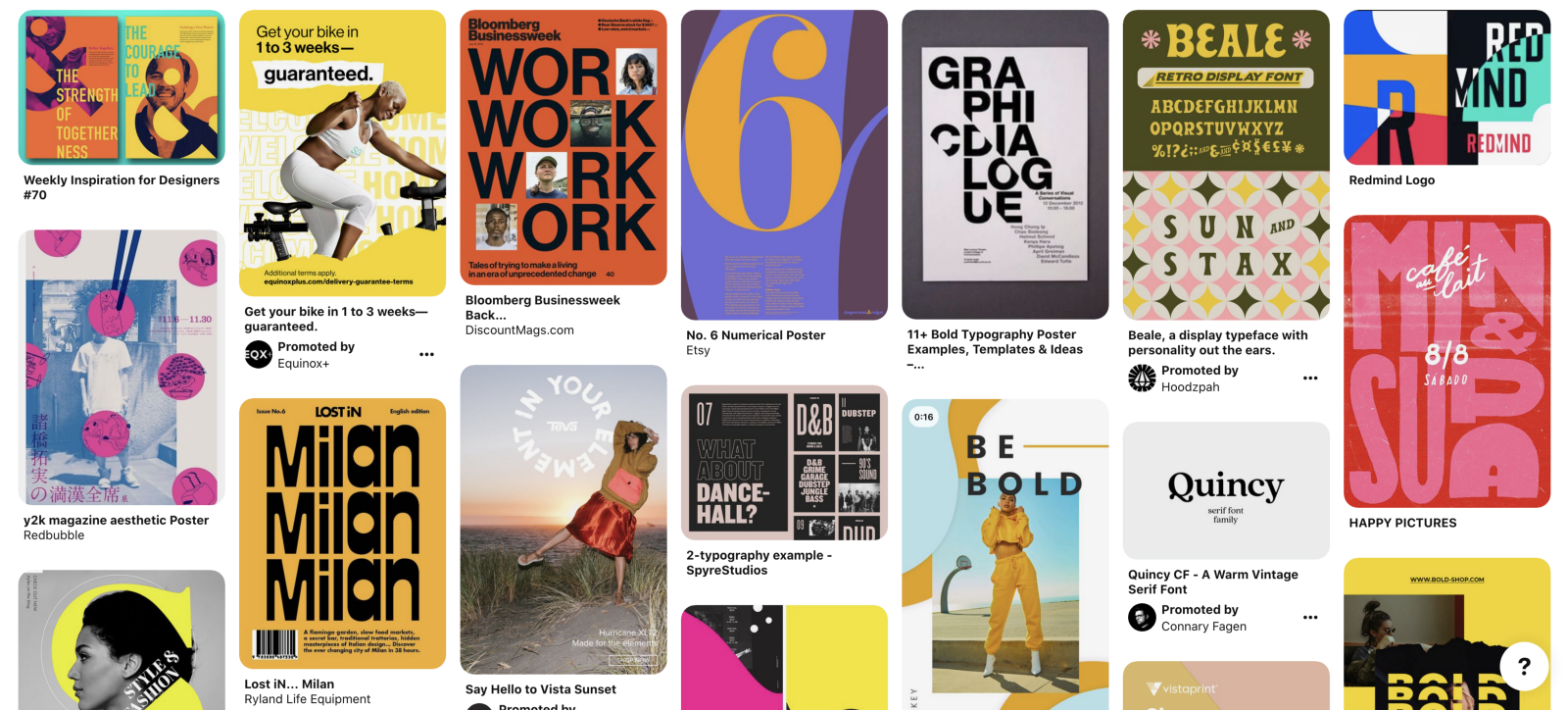 "An example search on Pinterest for ""bold poster design"""