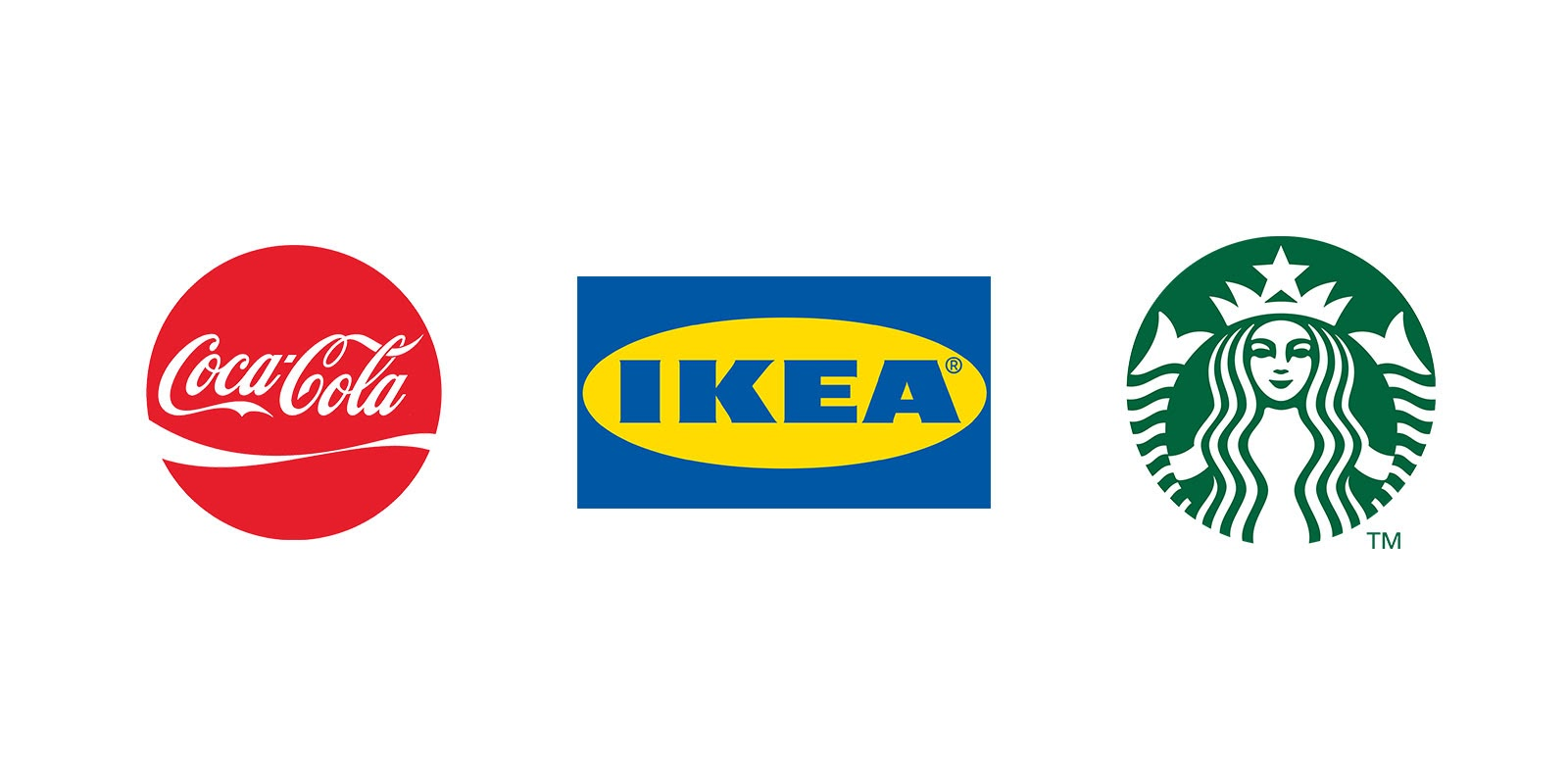 Coca-Cola, Ikea, and Starbucks have recognizable brand colors