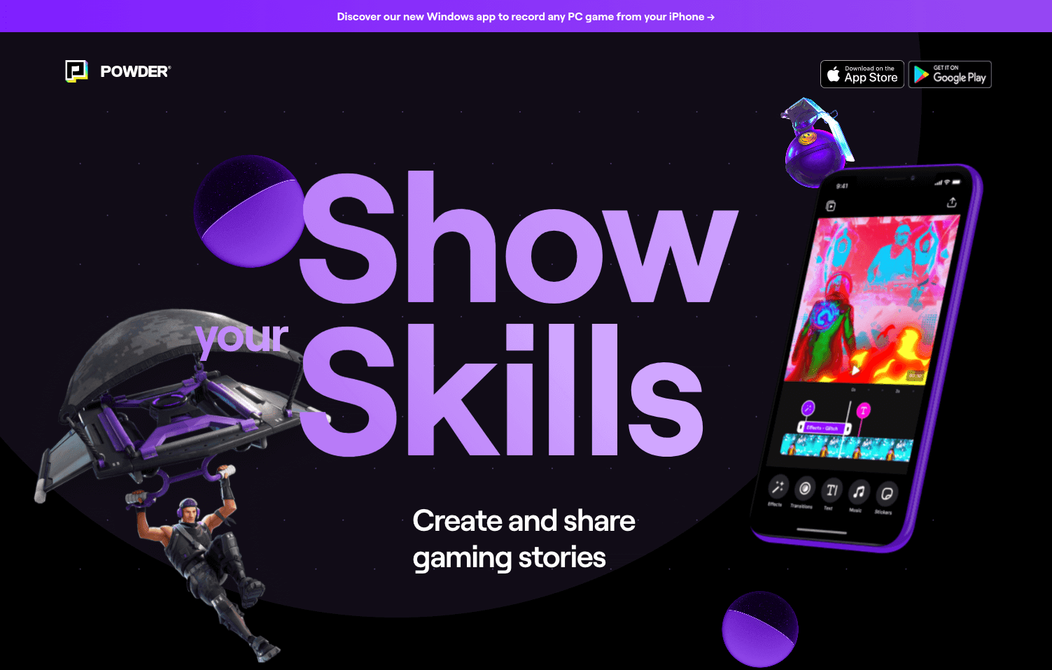 Purple is a secondary color on Powder's website.