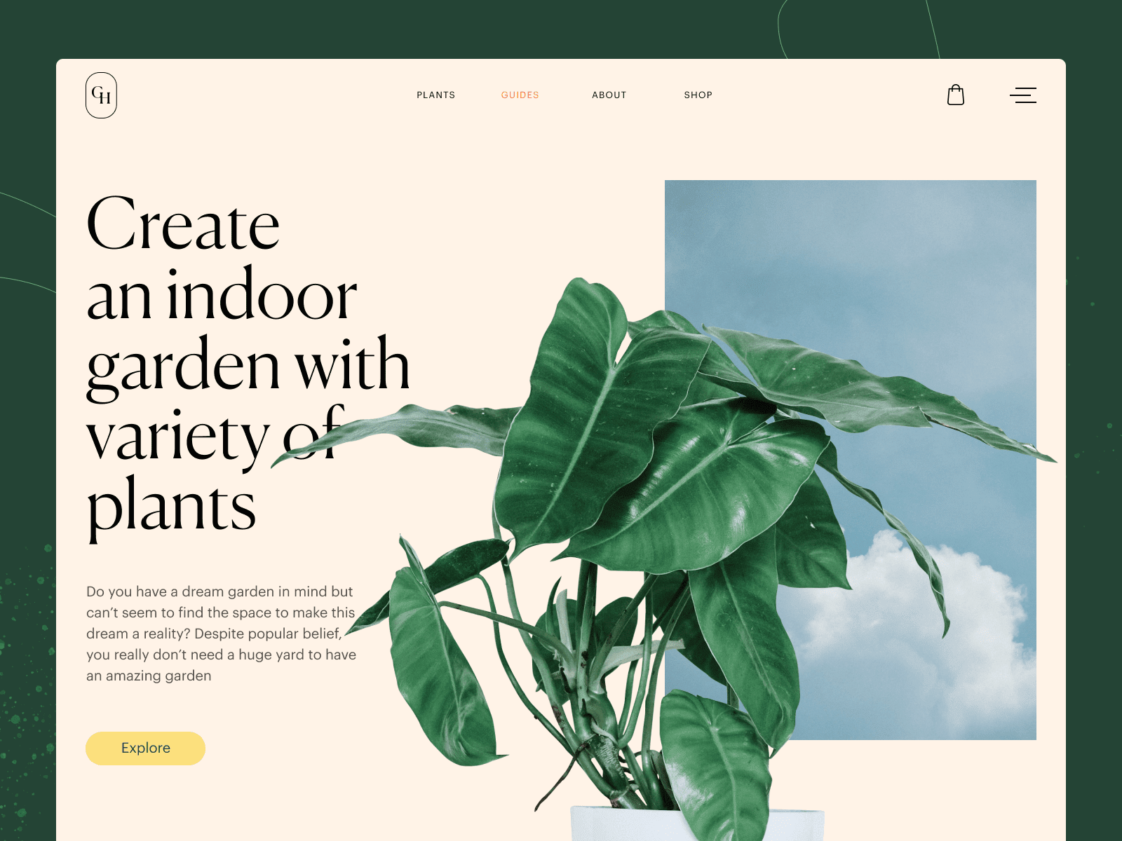 In this example, the accent color is bright yellow. Source: tubik via Dribbble