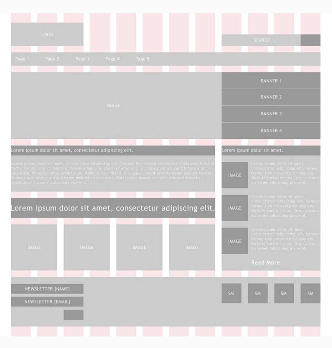 Low-fidelity wireframe example with a grid overlay