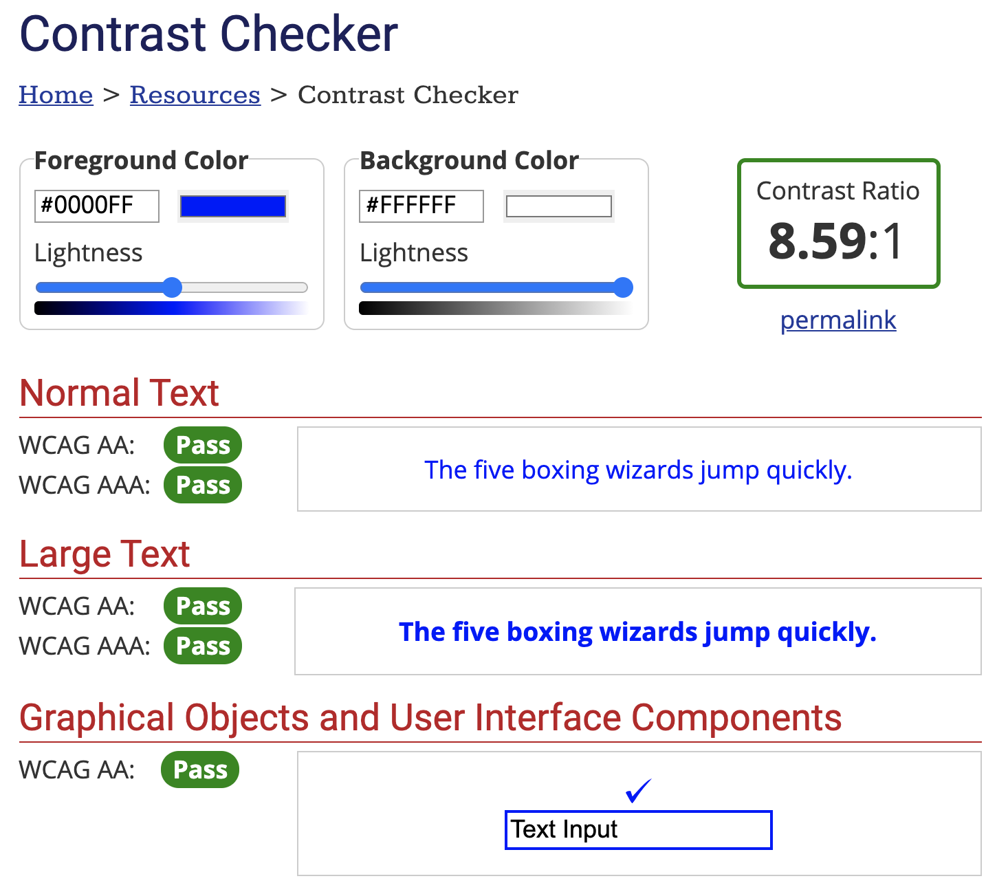 An example of a foreground and background color passing WCAG AA and WCAG AAA compliance