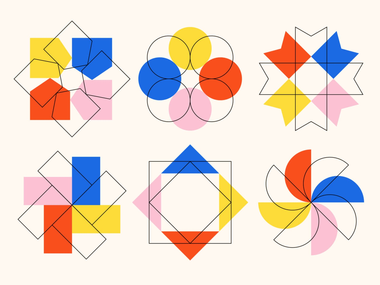 A collection of geometric shapes by Ray Dak Lam.
