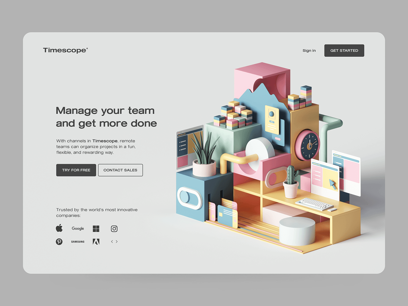 An example of how 3D rendering can elevate the look of a website. Web design by Peter Tarka via Dribbble.