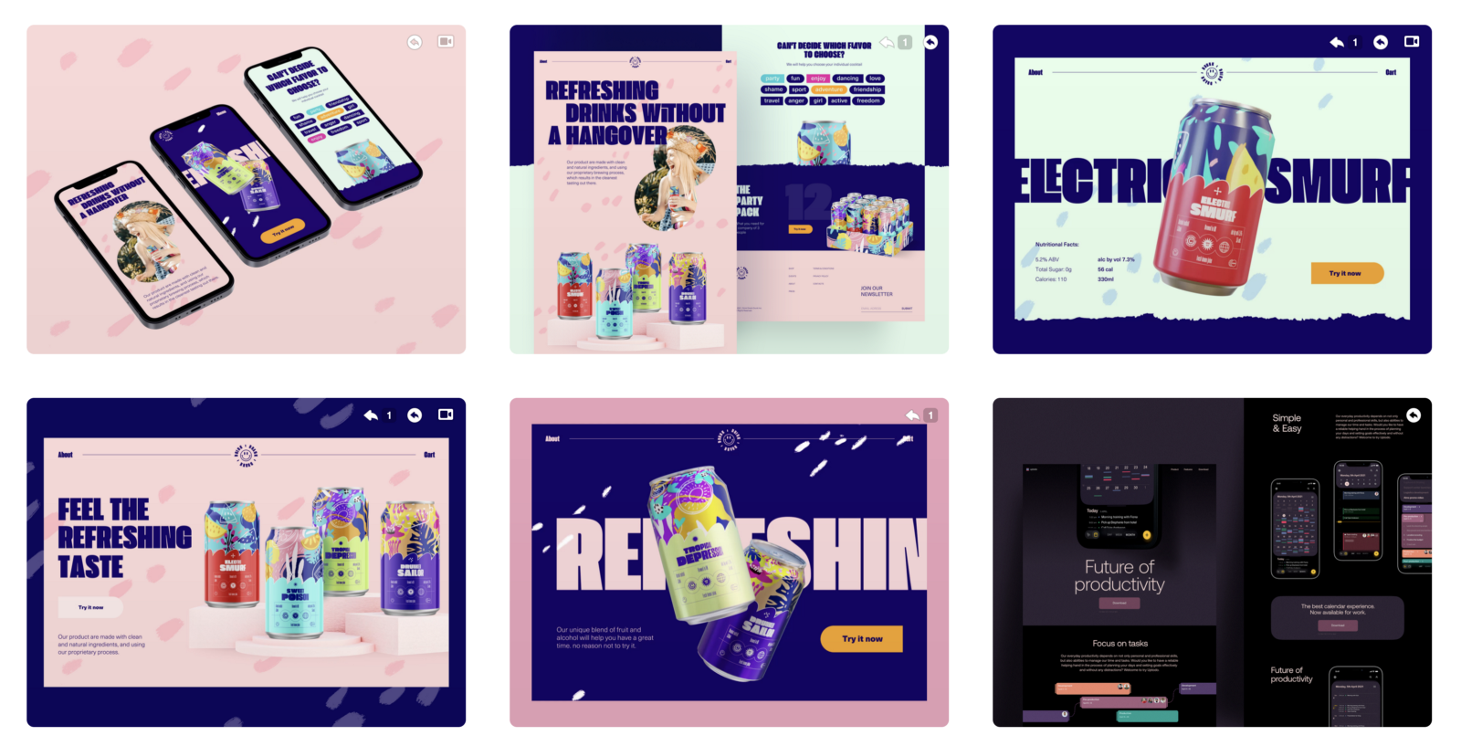 Example of a UI design portfolio on Dribbble (source)