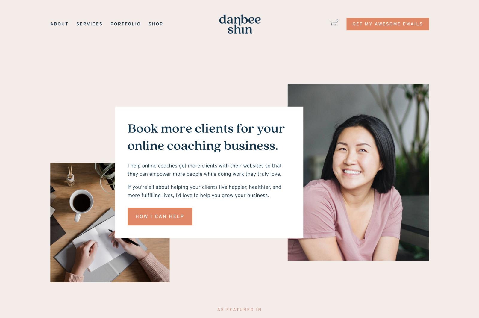 Web design portfolio example (source)