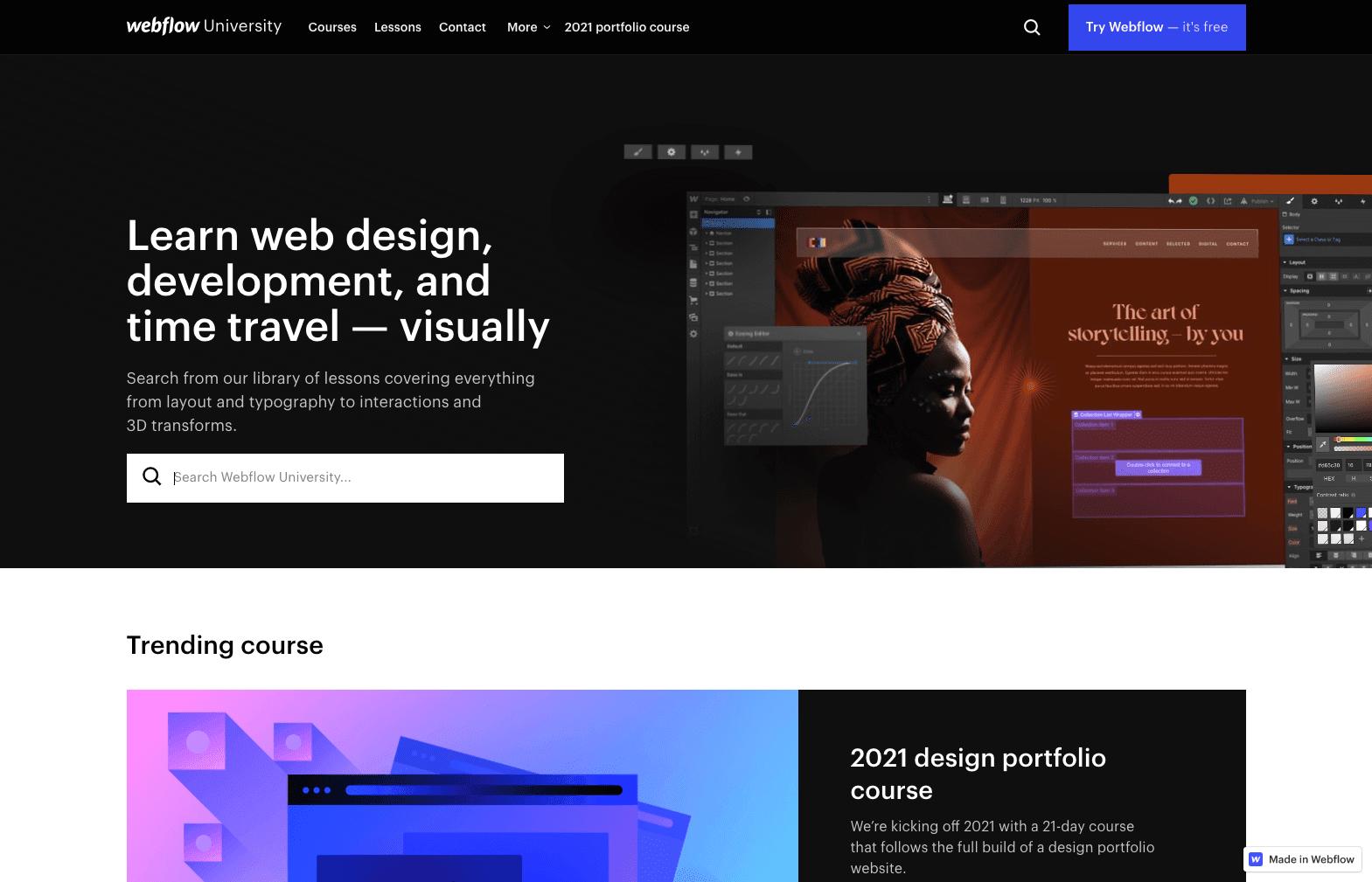 Webflow University offers free training on web design and Webflow development.