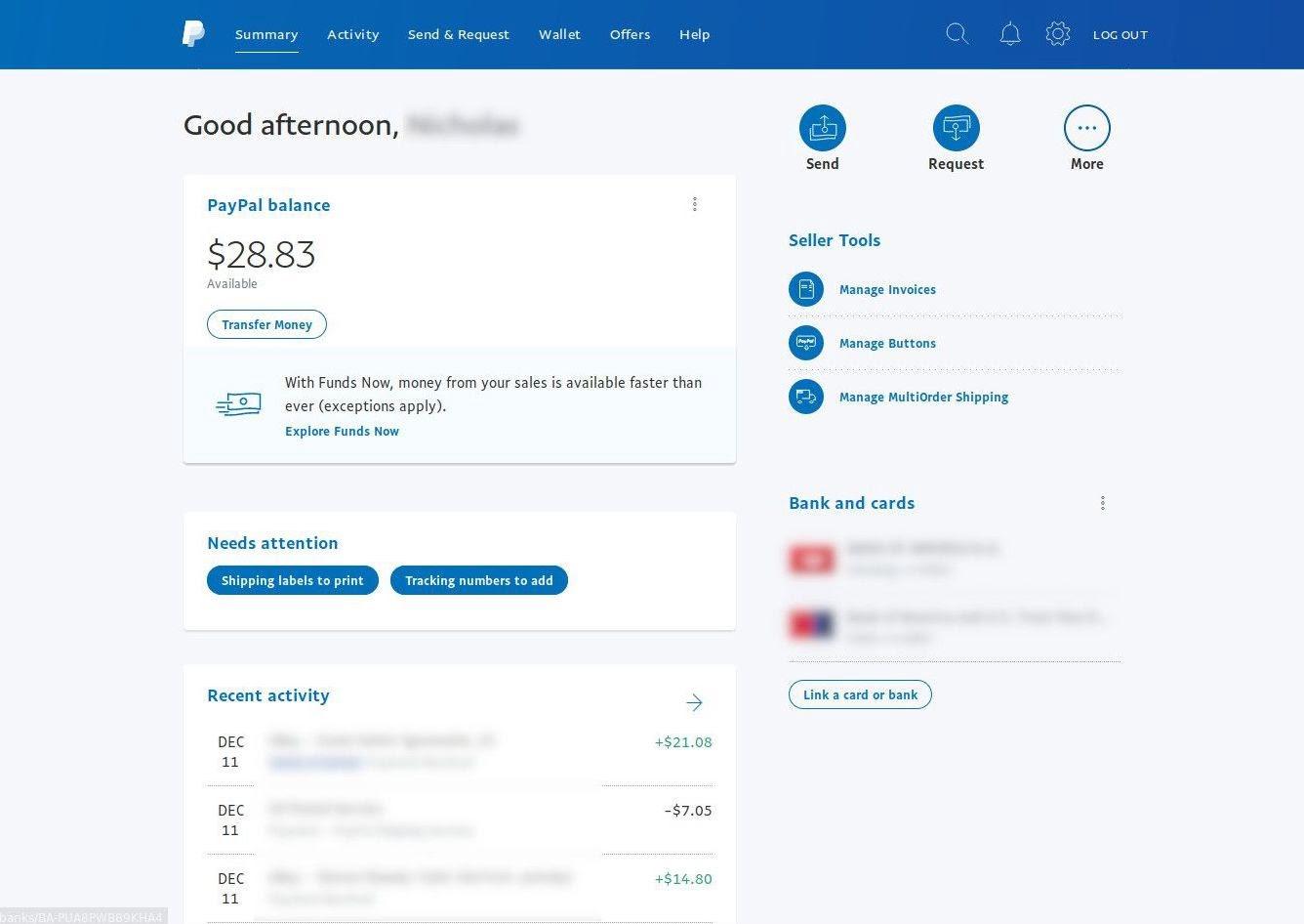PayPal dashboard UI