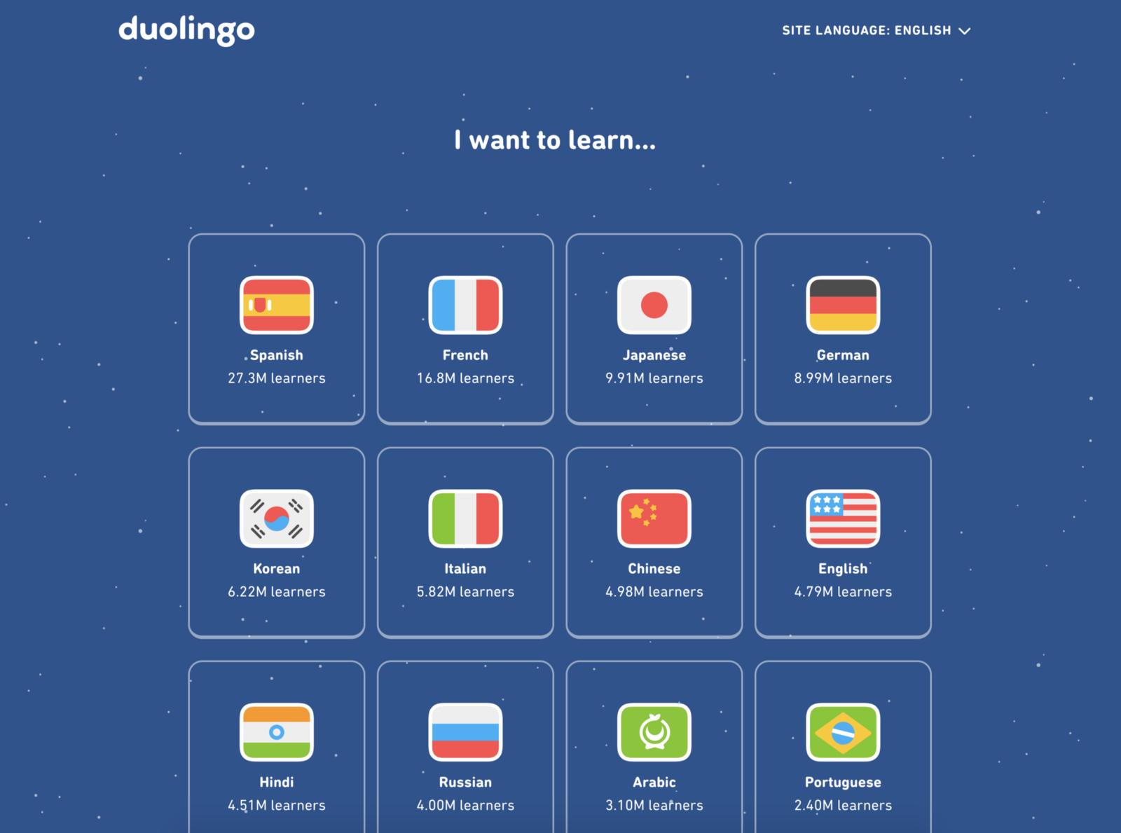 Duolingo landing page for choosing a language