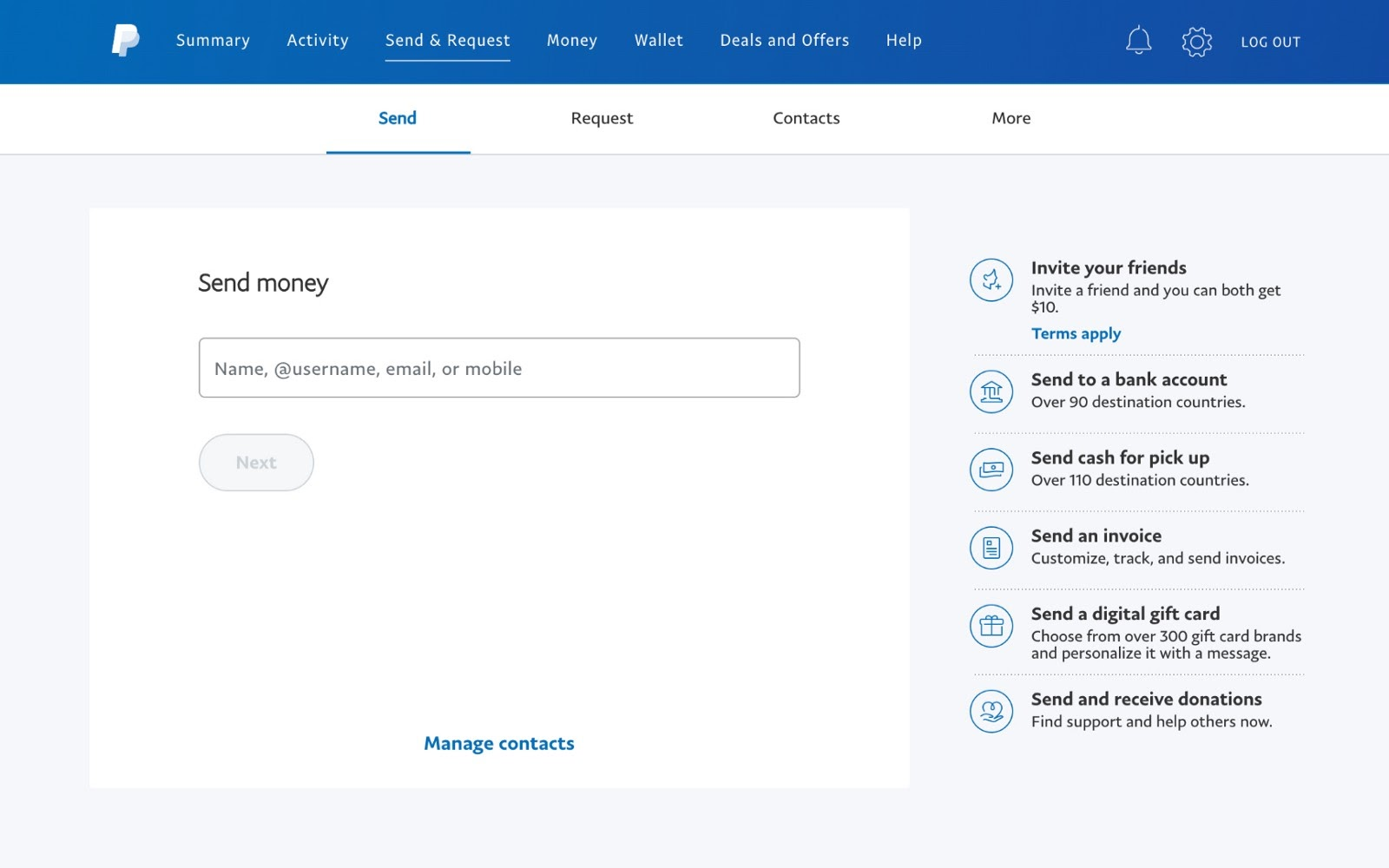 Paypal landing page for sending money