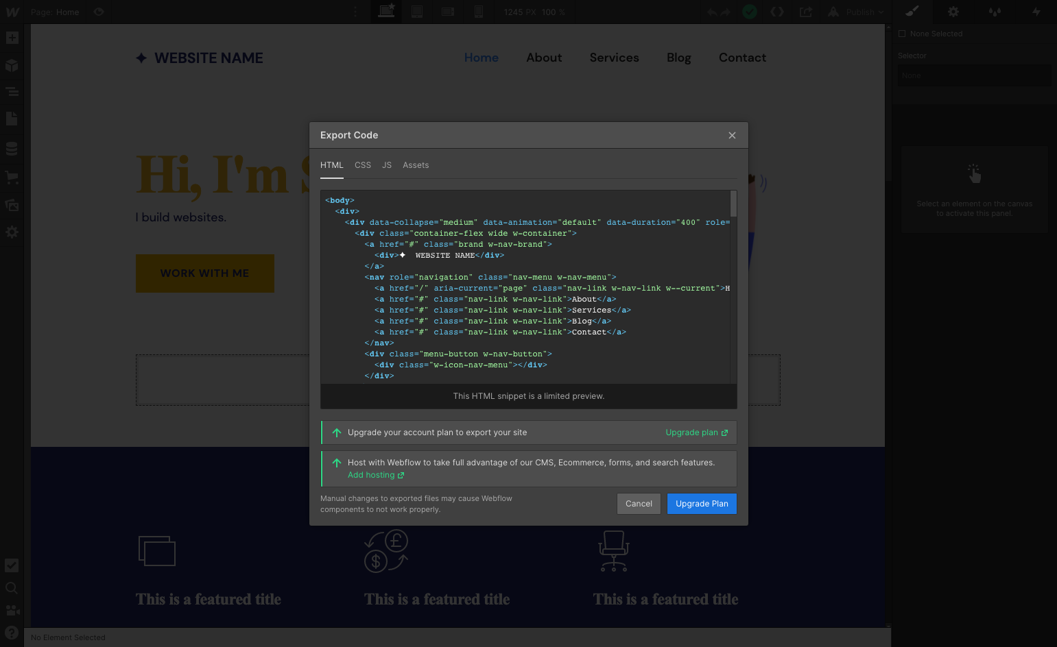 Example of HTML code that is generated by Webflow