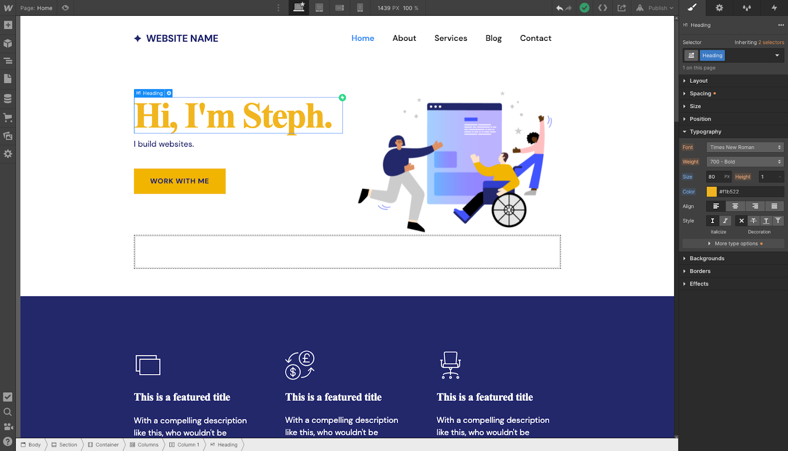 Example of the Webflow Style panel