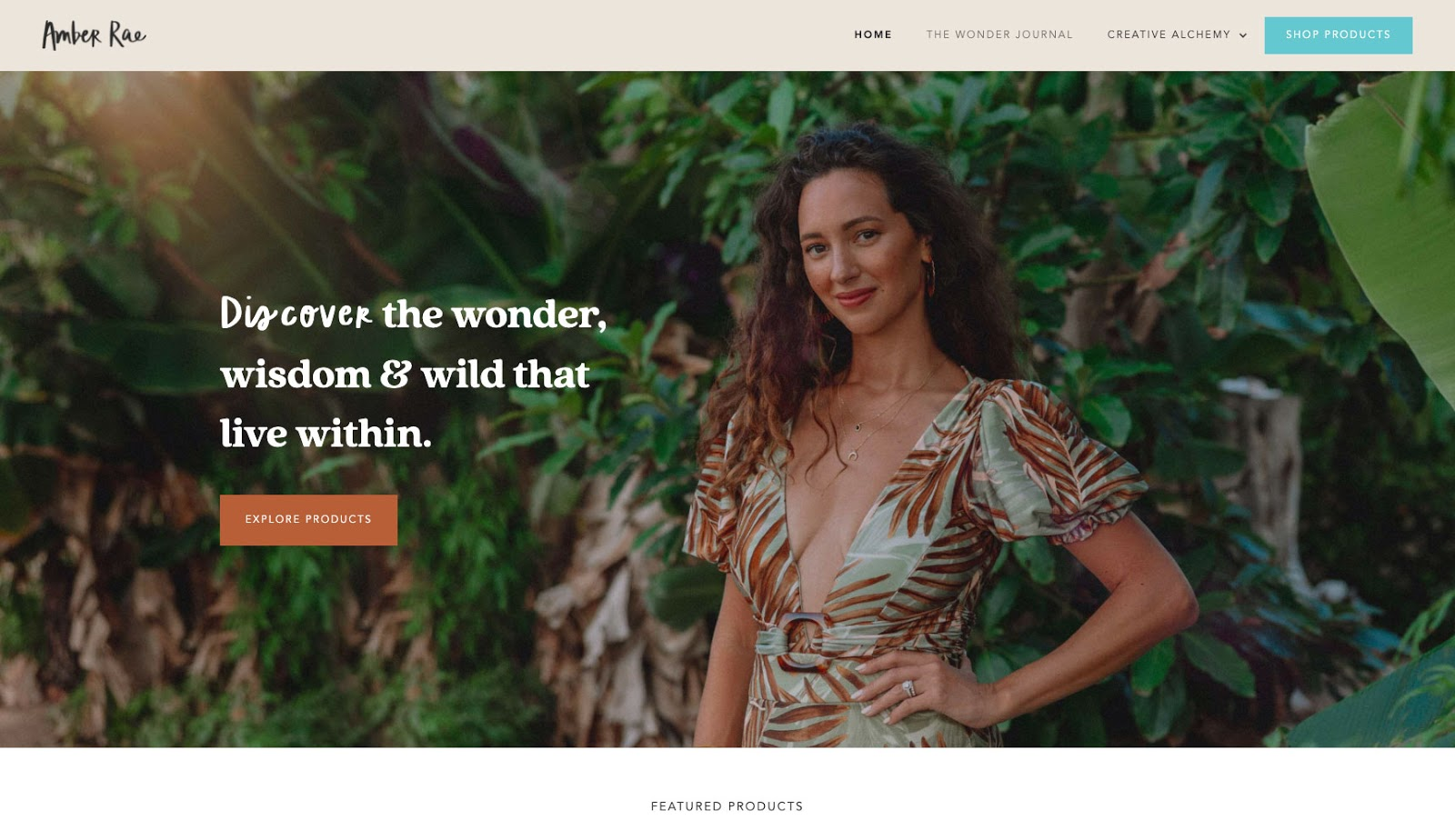 Amber Rae's website is an example of Webflow CMS and Ecommerce in action