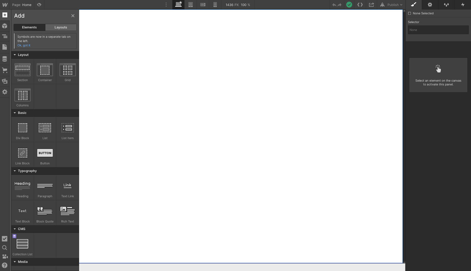 A blank page in the Webflow Designer
