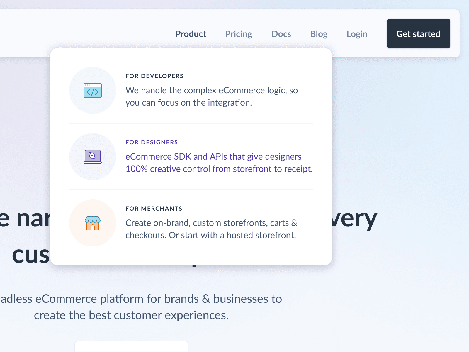 Example of clear and simple navigation with a dropdown menu (source)