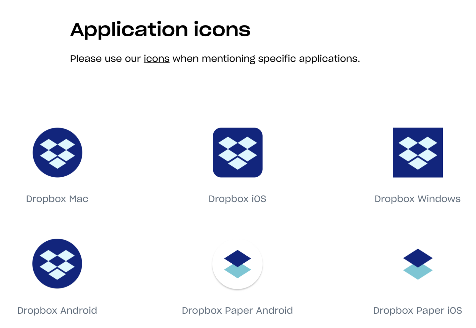 Application icon usage for Dropbox (source)